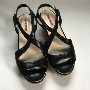 Prada Cork Wedge Sandal Heels Black Strap Sz 39